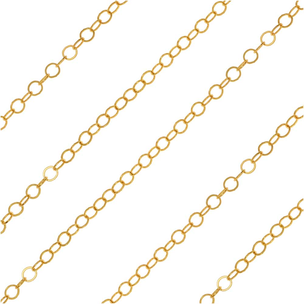 Gold Plated Cable Chain, Round Links 2mm, by the Foot