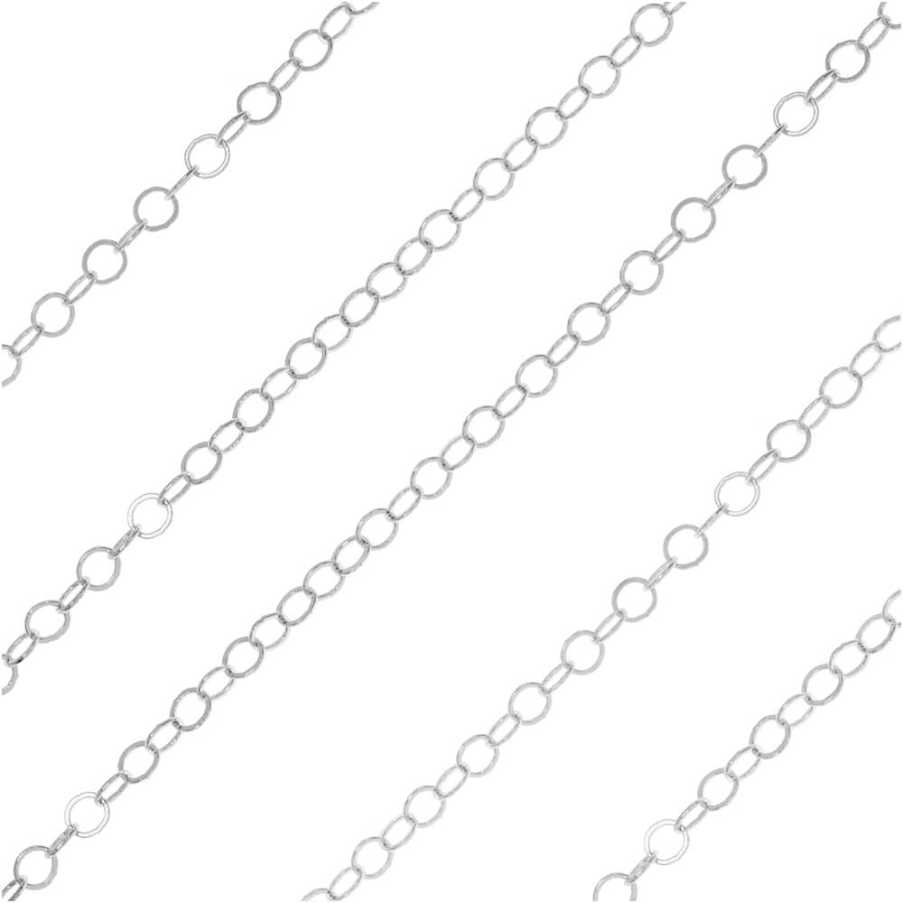Silver Plated Cable Chain, Round Links 2mm, by the Foot