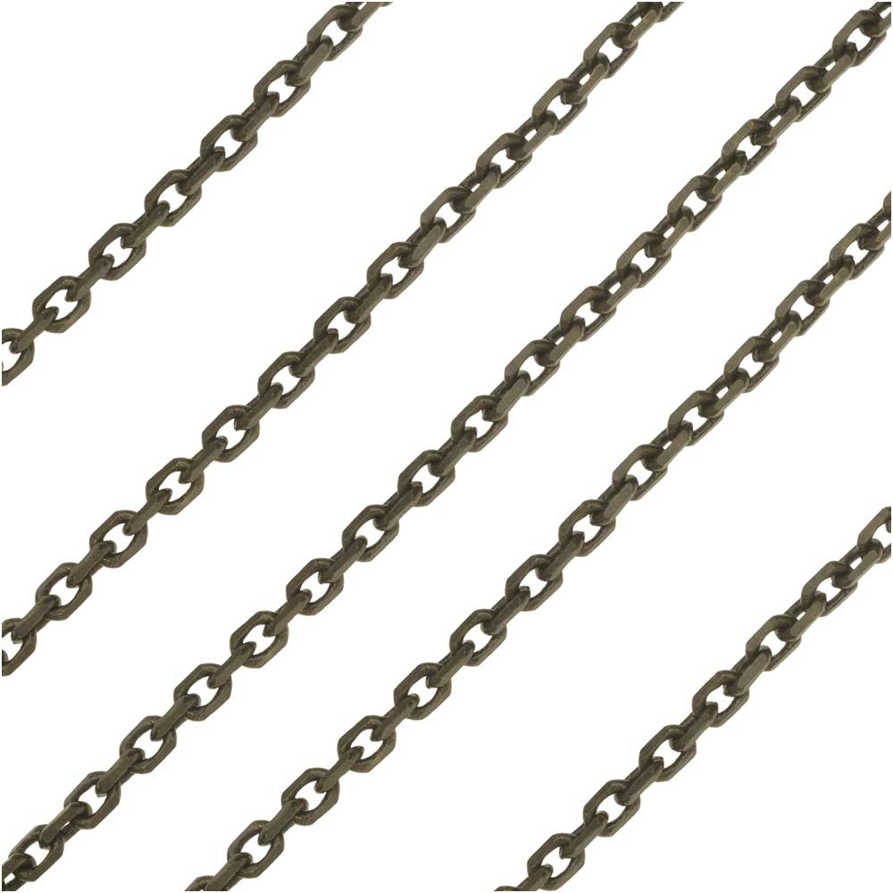 Antiqued Brass Delicate Rectangle Cable Chain, 2mm, by The Foot