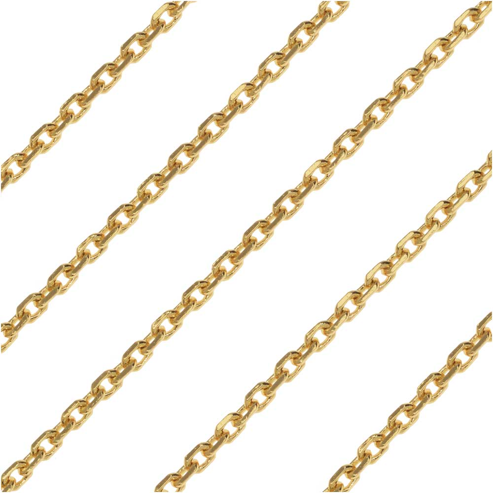 Gold Plated, Delicate Rectangle Cable Chain, 2mm, by The Foot