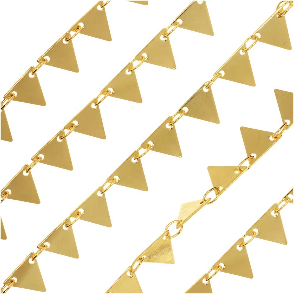 Gold Tone Charm Chain, with 6.5mm Triangle Pennant Connector Links, by the Foot