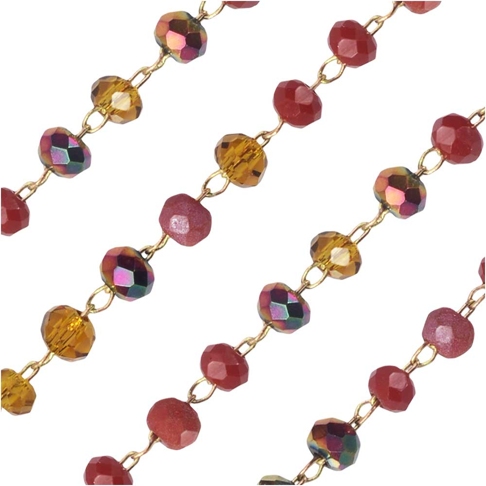 Zola Elements Beaded Chain, Gold Tone/Spice Mix Faceted Rondelles, 2x3mm, by the Foot
