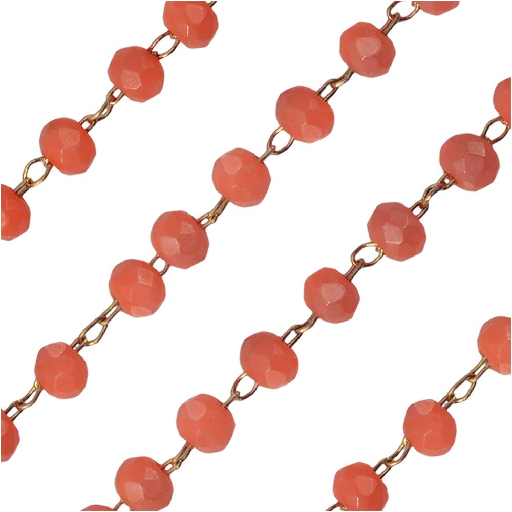Zola Elements Beaded Chain, Gold Tone/Matte Coral Faceted Rondelles 2x3m, by the Foot