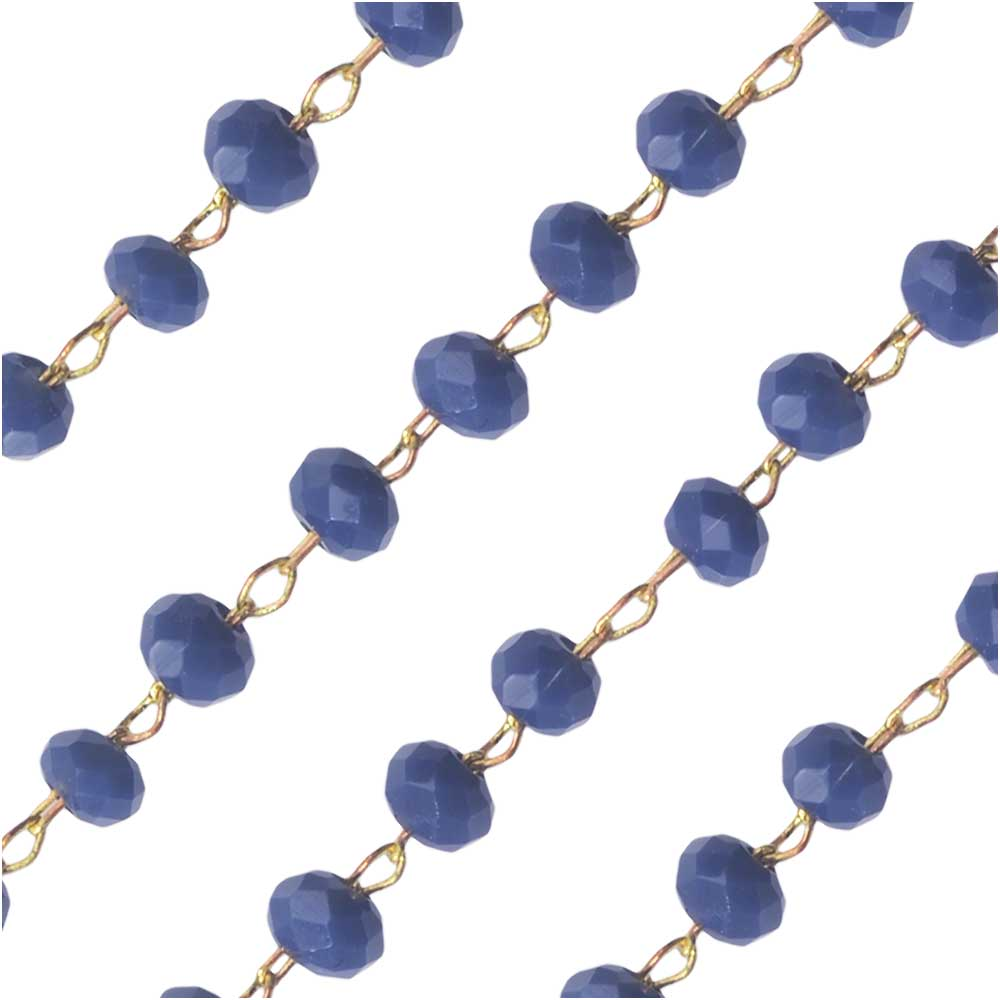 Zola Elements Beaded Chain, Gold Tone/Dark Blue Opal Faceted Rondelles 2x3mm, by the Foot