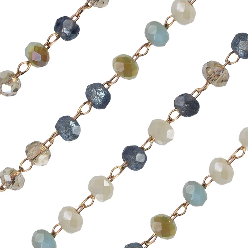 Zola Elements Beaded Chain, Gold Tone/Riviera Mix Faceted Rondelles 2x3mm, by the Foot
