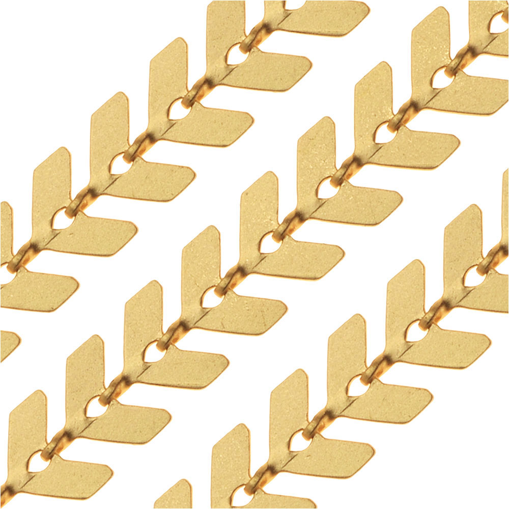 Matte Gold Plated Chevron Chain, 6.5mm, by the Foot