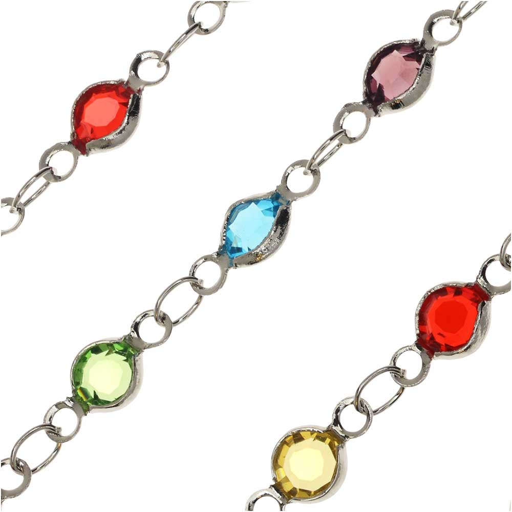 Zola Elements Crystal Channel Chain, Round Multi-Color, Silver Tone, 10mm, by the Foot