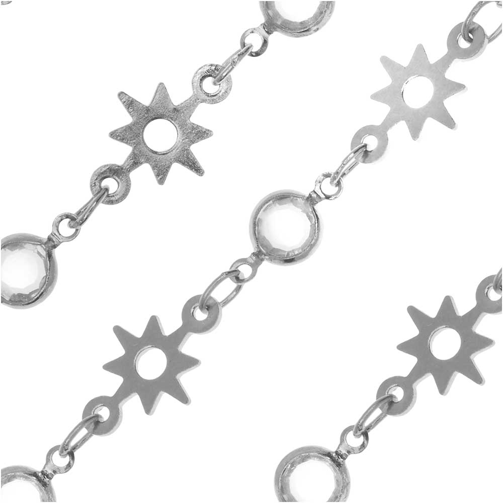 Zola Elements Channel Charm Chain, 9mm Crystal and 11mm Sun, Silver Tone, by the Foot