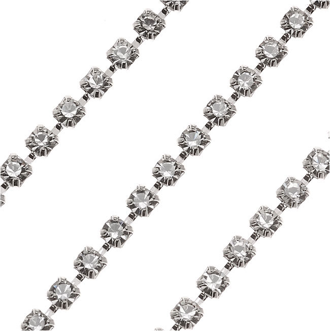 Czech Crystal Rhinestone Cup Chain, 18PP, Crystal/Silver Plated, by the Foot