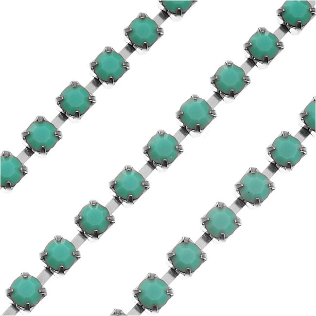 Czech Crystal Rhinestone Cup Chain, 18PP, Turquoise/Silver Plated, by the Foot