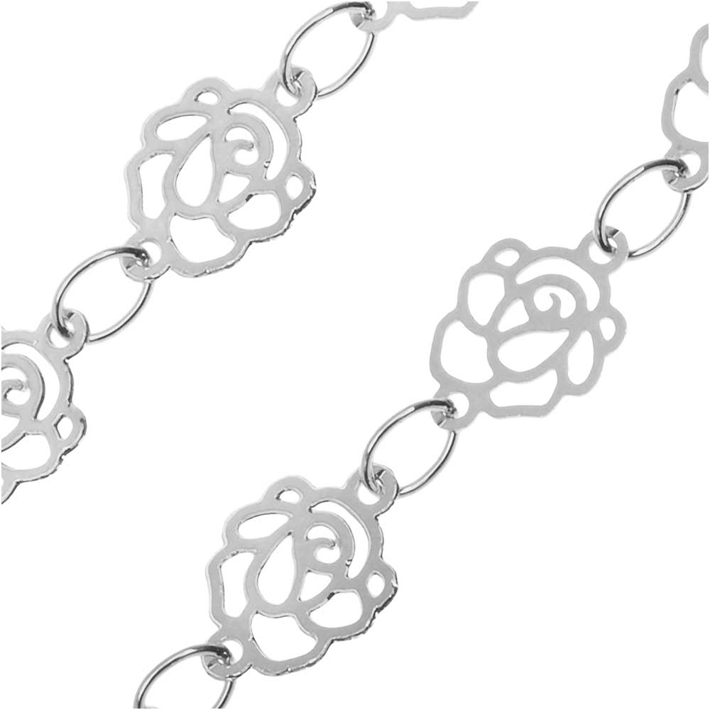 Silver Tone Charm Chain, Elegant Roses, 6.5mm, by the Foot