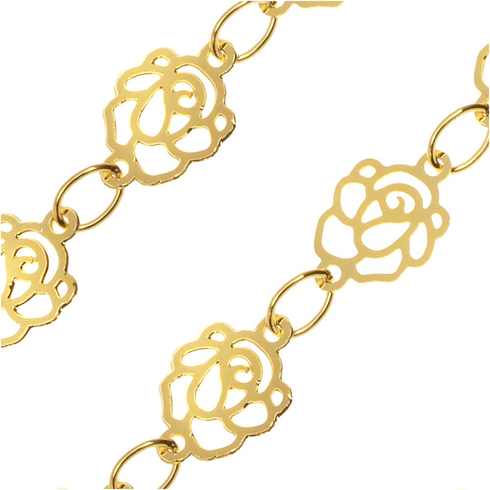 Gold Tone Charm Chain, Elegant Roses, 6.5mm, by the Foot