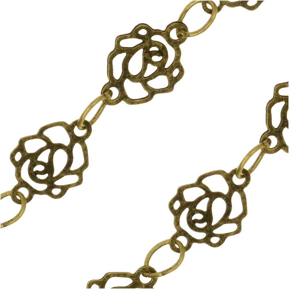 Antiqued Brass Charm Chain, Elegant Roses, 6.5mm, by the Foot