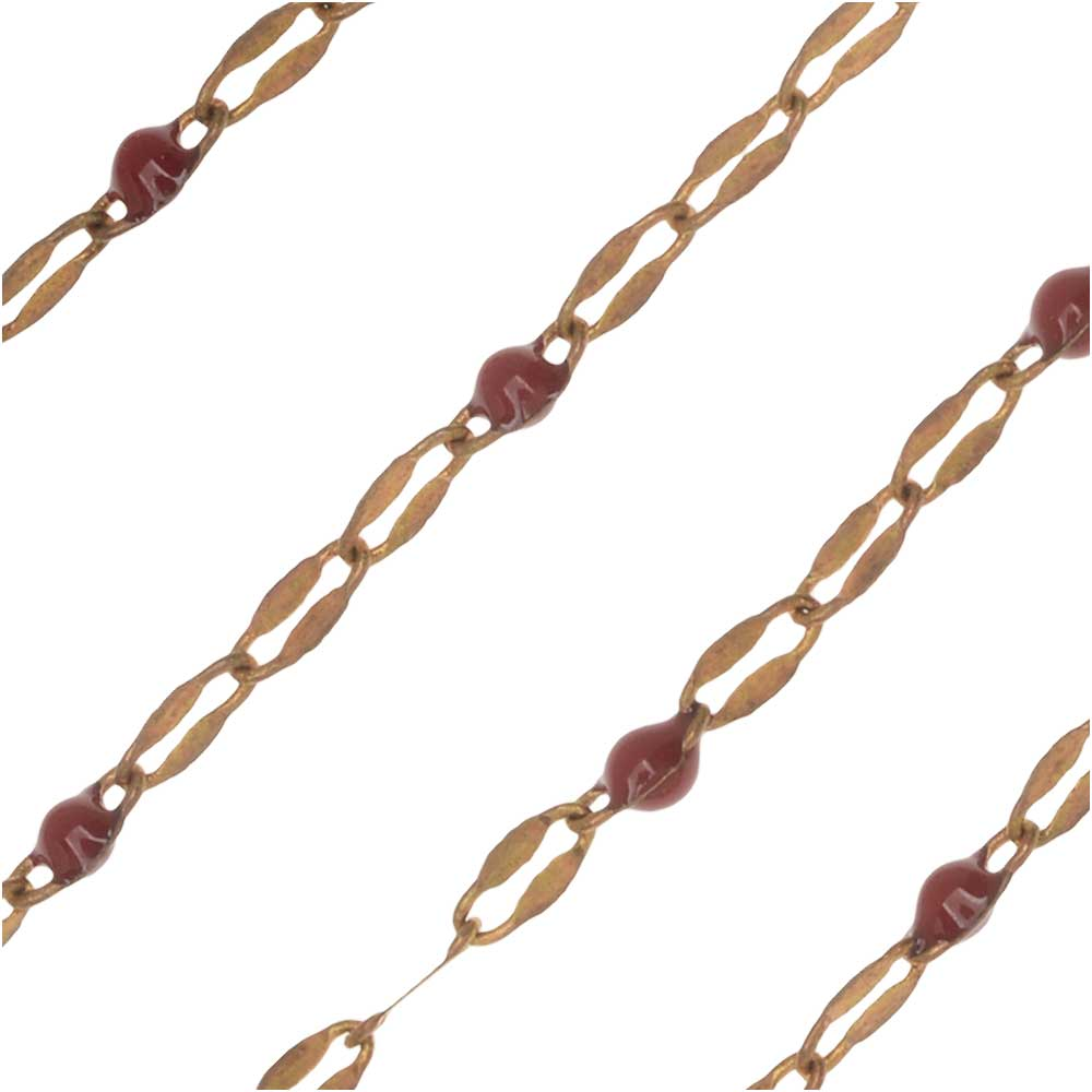 Zola Elements Beaded Chain, Brass/Burgundy, 4x2mm, By the Foot