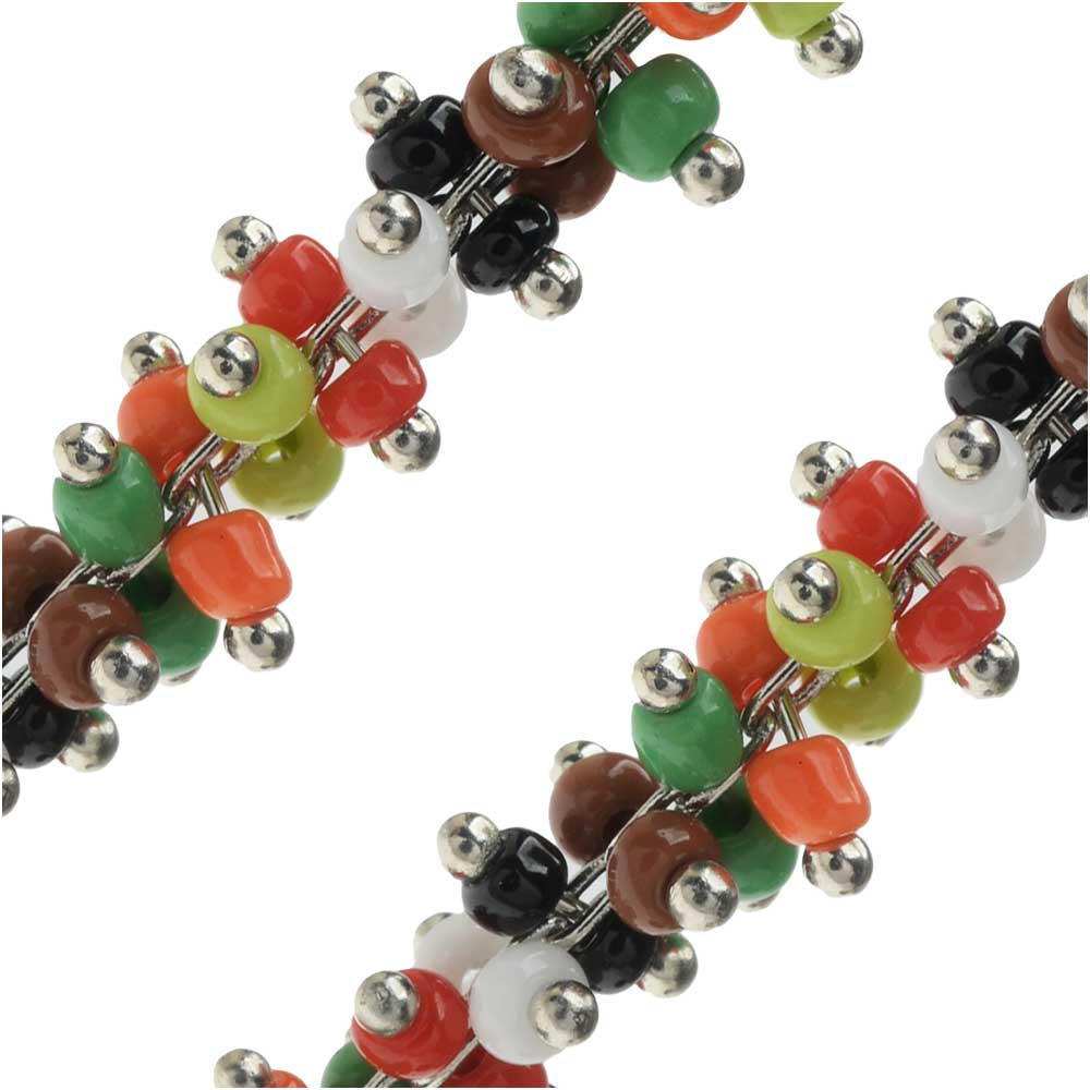 Zola Elements Wire Wrapped Beaded Chain, Multi-Color Seed Beads, Silver Tone, by the Foot