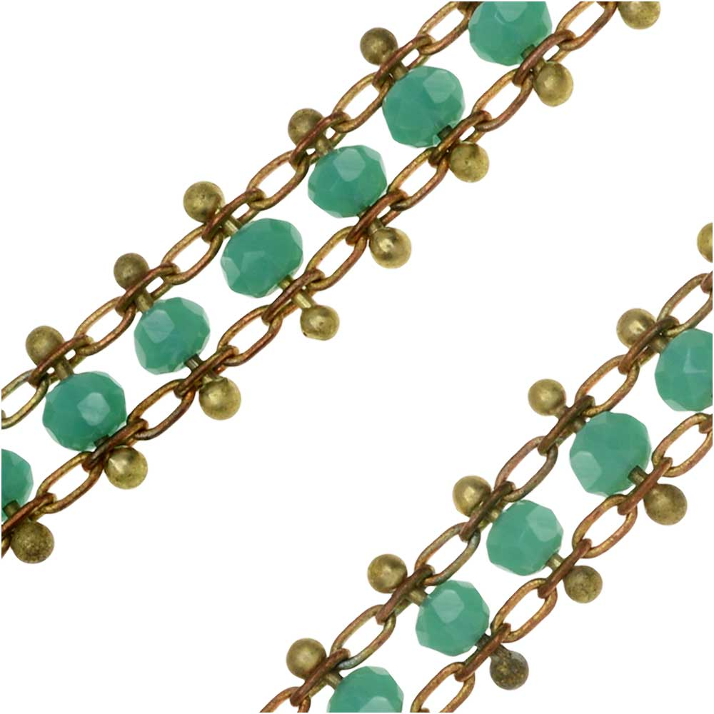 Zola Elements Beaded Double Chain, Brass/Turquoise, 6mm, by the Foot