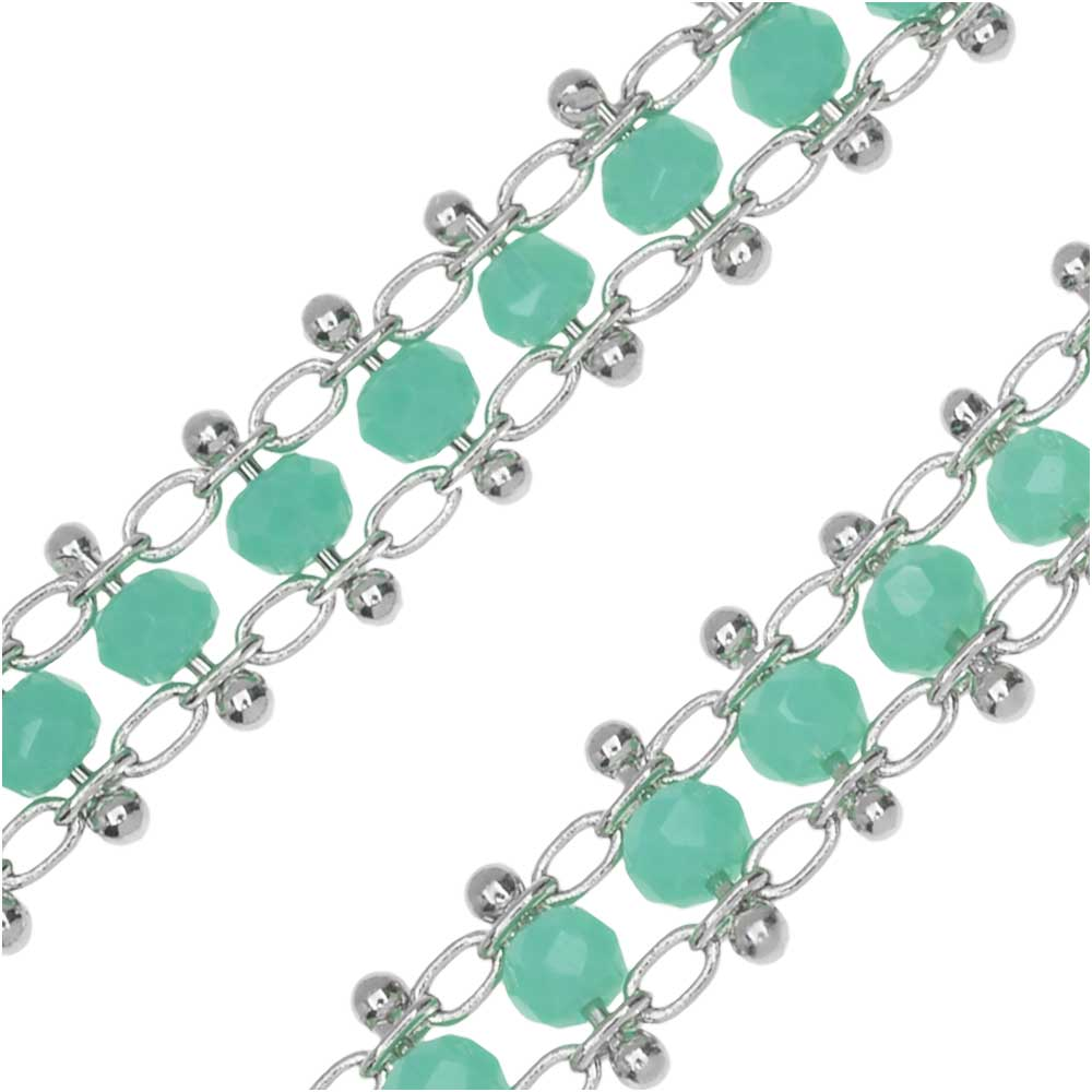 Zola Elements Beaded Double Chain, Silver Tone/Turquoise, 6mm, by the Foot