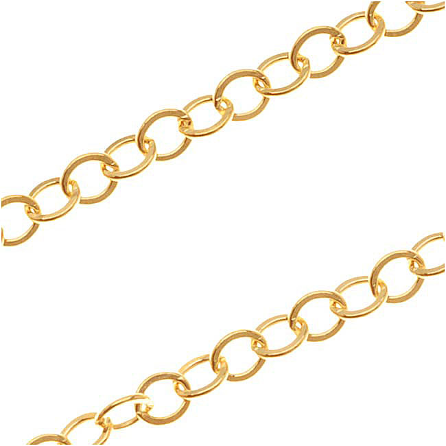 14/20 Gold Filled Cable Chain, 2.4mm, by the Foot