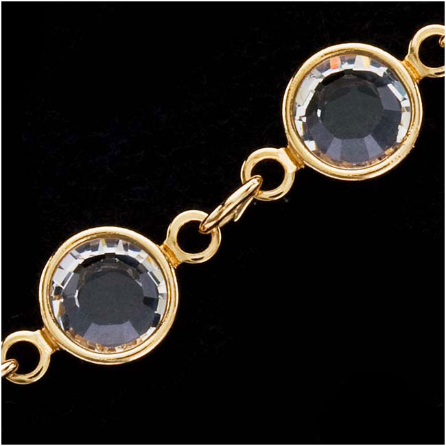 Swarovski Crystal Channel Chain, Gold Plated/Crystal, 7mm, by the Foot