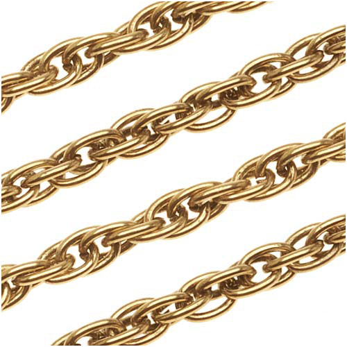 Antiqued 22K Gold Plated Thick Twisted Rope Chain, 4mm, by the Foot