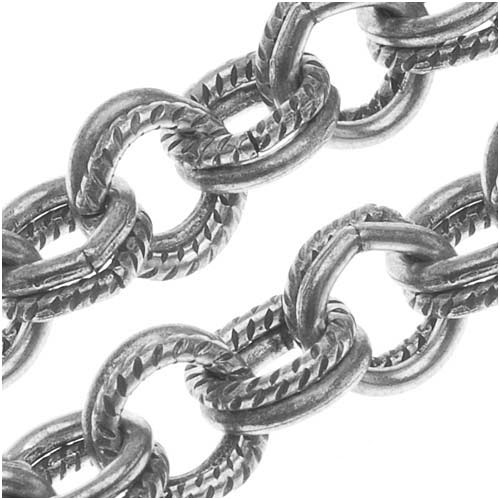 Antiqued Silver Plated Textured Double Link Cable Chain, 5mm, by the Foot