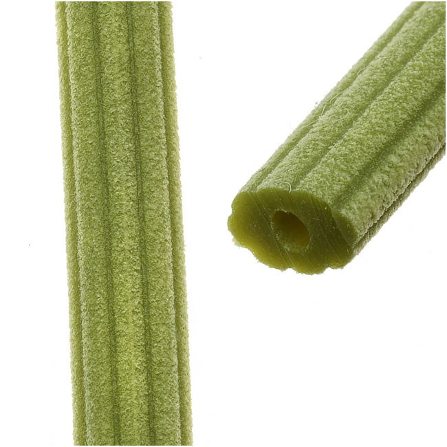 Final Sale - Corduroy Rubber Cord 10x6.5mm, Sage Green, by Regaliz, Cut to Order, by the Inch