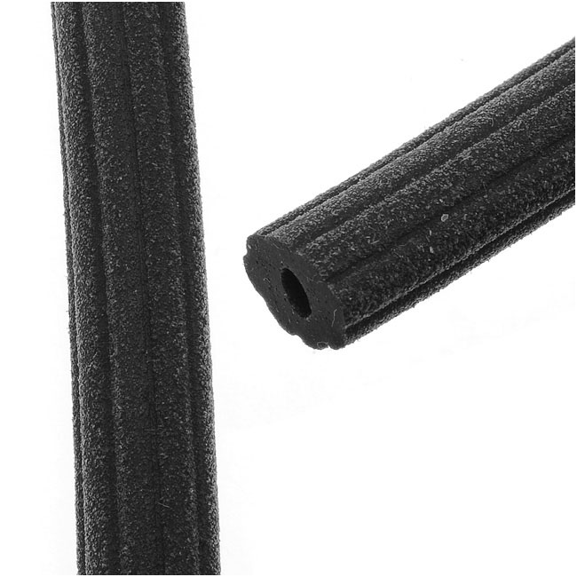 Corduroy Rubber Cord 10x6.5mm, Black, by Regaliz, Cut to Order, by the Inch