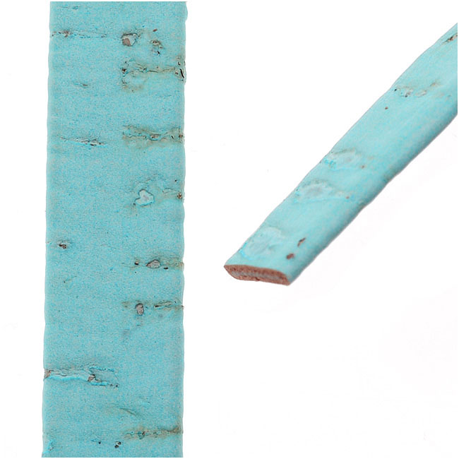 Flat Portuguese Cork Cord by Regaliz, 10x1.5mm, Baby Blue, by the Inch