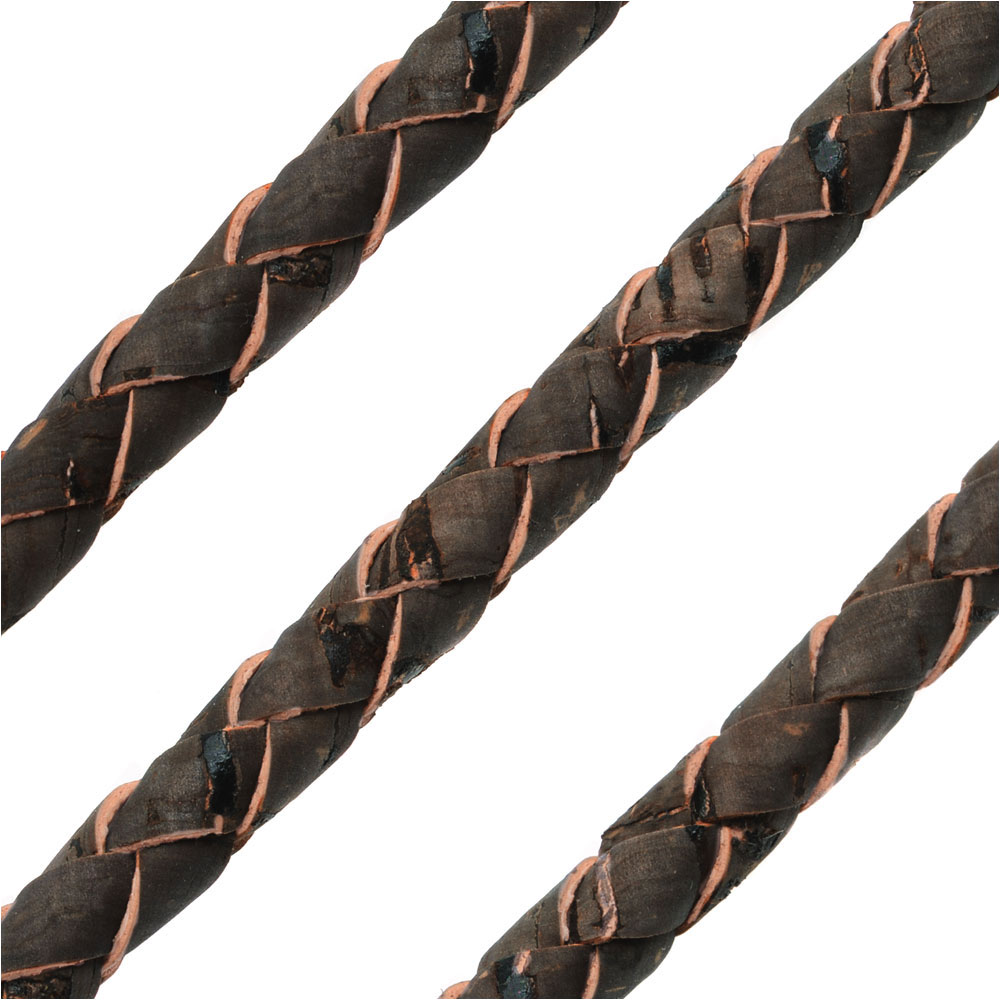 Portuguese Cork Cord by Regaliz, Round and Braided 6mm, Dark Brown, by the Inch