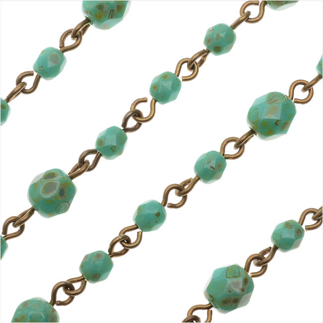 Beaded Czech Glass Chain by Beadlinx, 4 & 6mm Turquoise Fire Polish, by the Inch