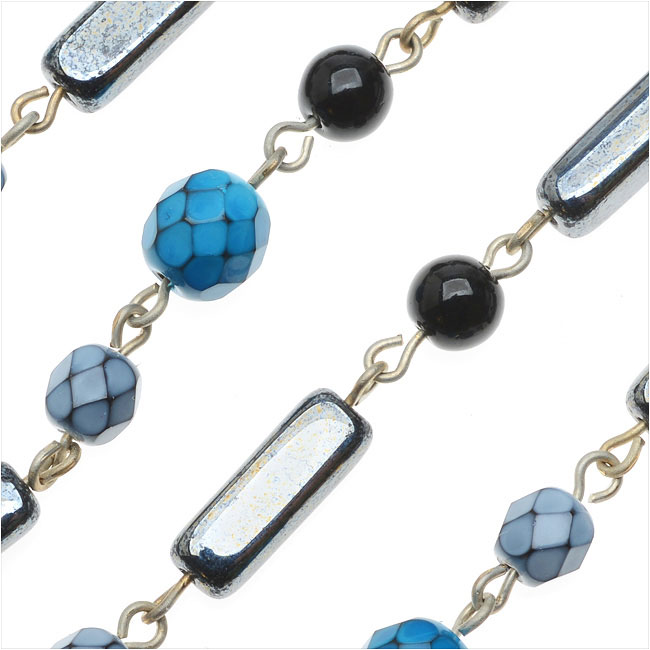 Beadlinx Beaded Czech Chain Gun Metal Links Blue/Hematite Czech Glass Mix 5.5-15mm By The Inch