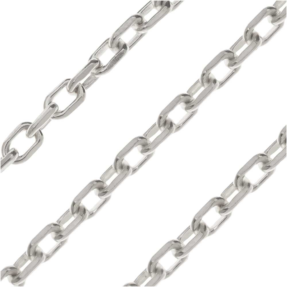Sterling Silver Drawn Cable Chain, 2mm, by the Inch