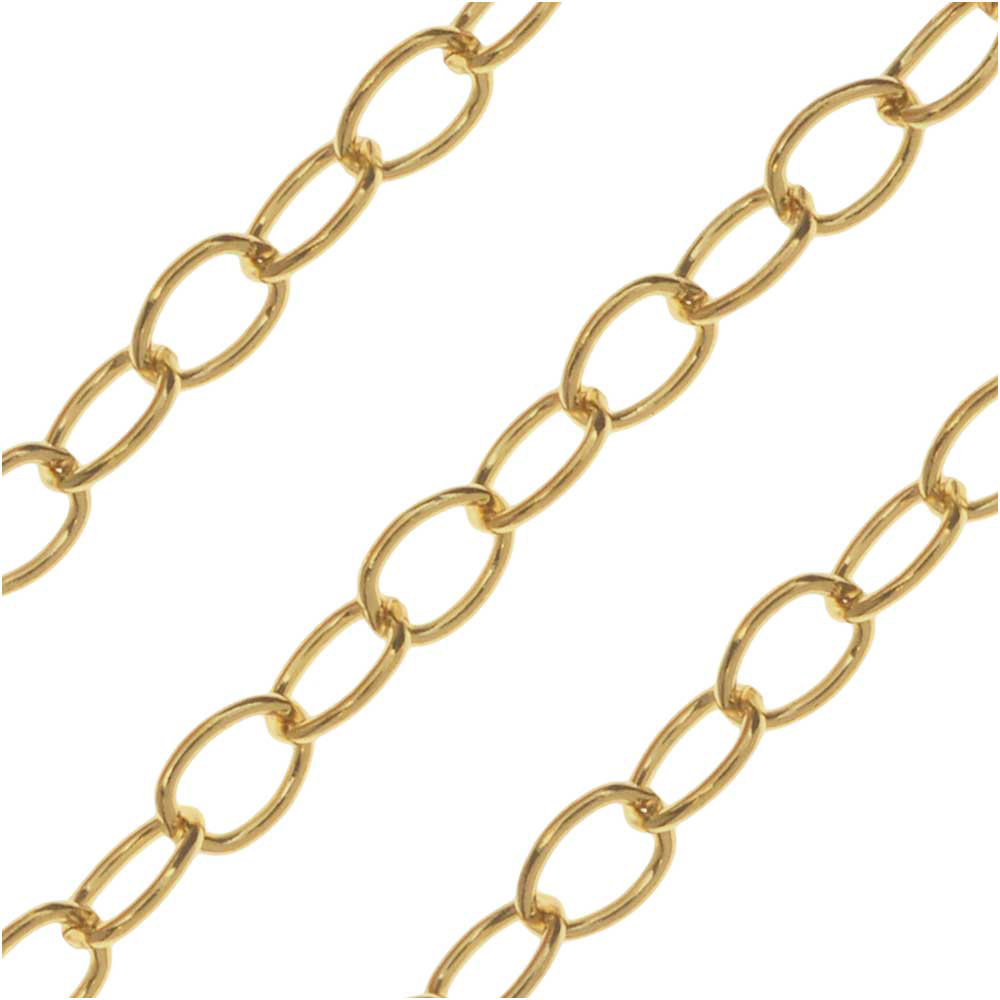 14k Gold Filled Cable Chain, 2mm, by the Inch