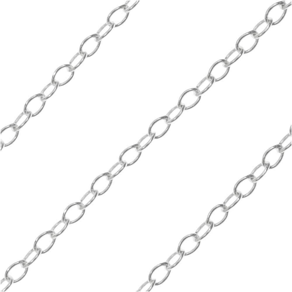 Sterling Silver Cable Chain, 1.5x1mm, 33 Gauge, by the Foot