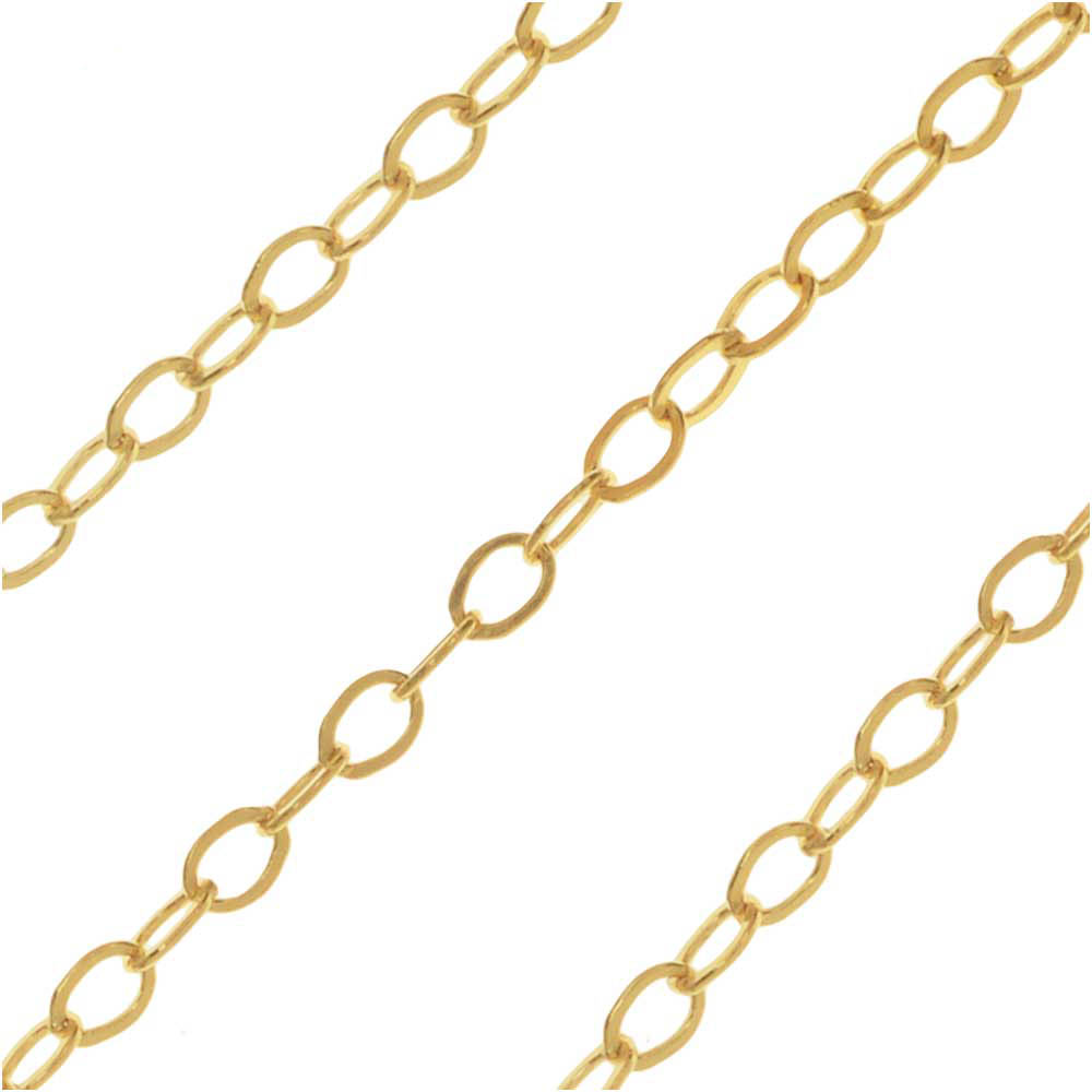 14k Gold Filled Flat Cable Chain, 1.2mm, by the Foot