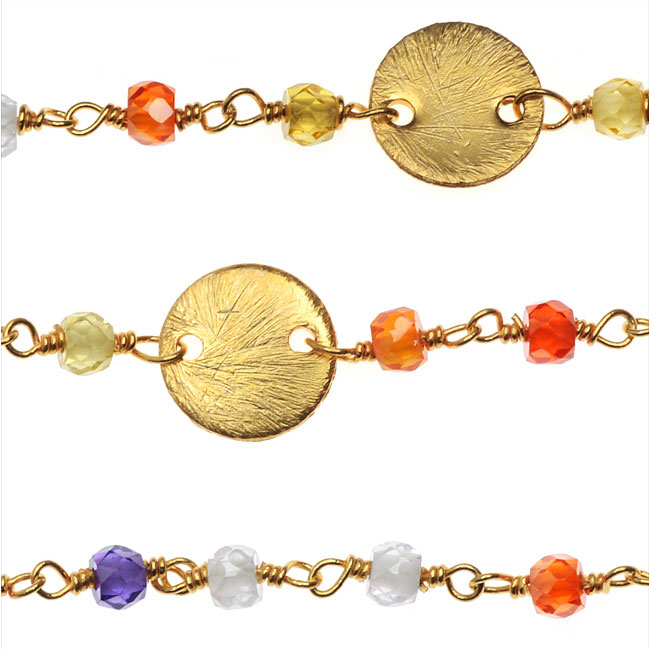 Wire Wrapped Gemstone Chain, Multi-Colored Faceted Rondelles & 8mm Pailettes, Gold, by the Inch