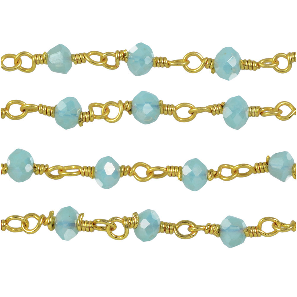 Wire Wrapped Gemstone Chain, Blue Chalcedony Rondelles 3.5mm, Gold Vermeil, by the Inch