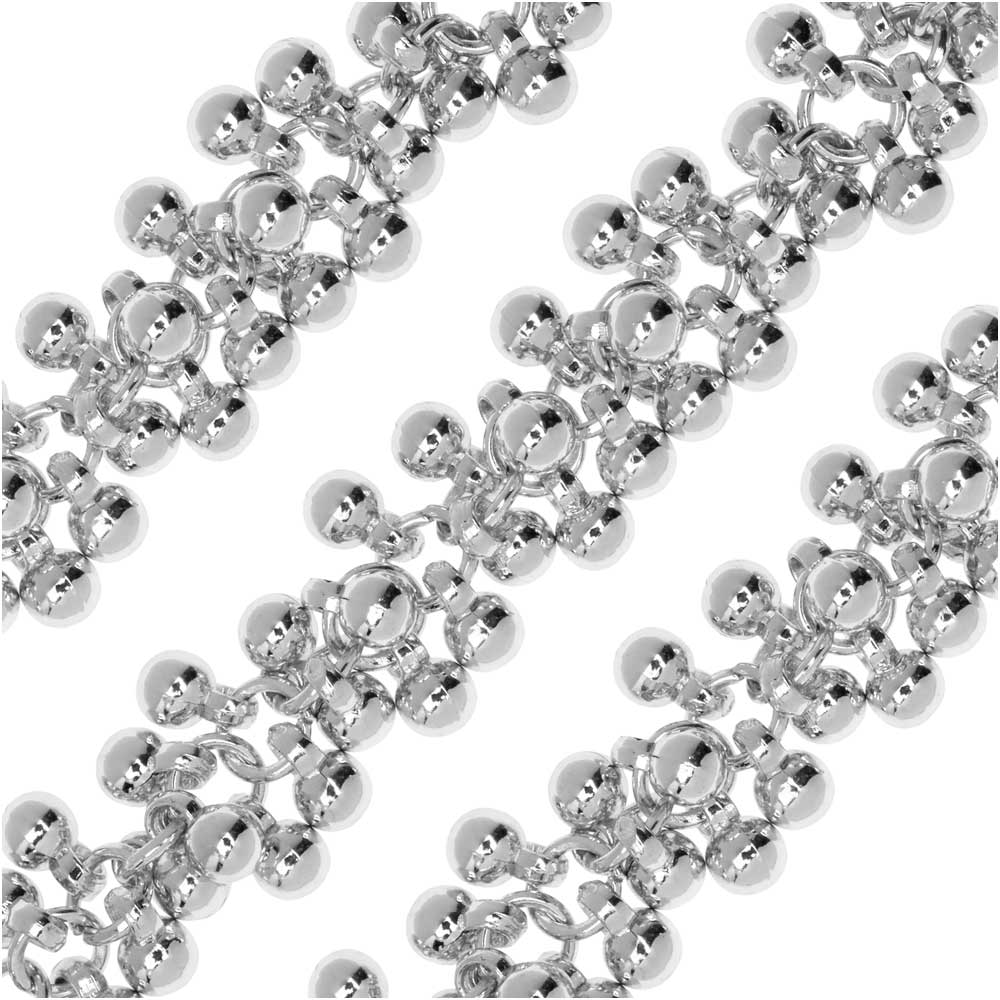 Charm Chain, 4mm Round Bauble Cluster, Silver Tone Plated, by the Inch