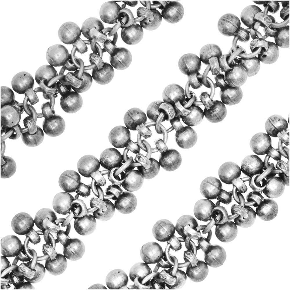 Charm Chain, 4mm Round Bauble Cluster, Antiqued Silver Tone Plated, by the Inch