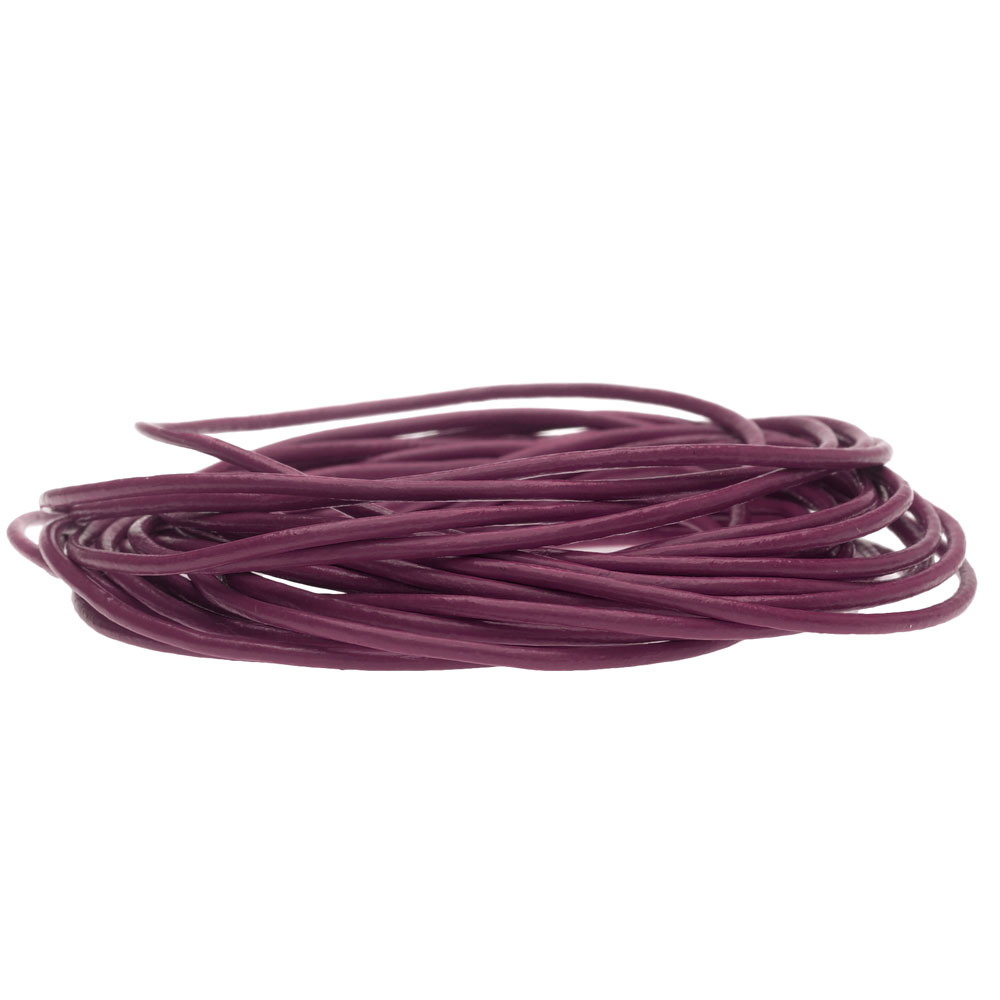 Genuine Leather Cord, Round 1.5mm,  By the Yard, Cyclamen