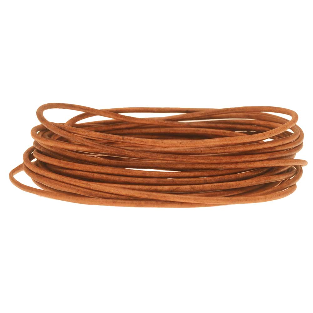 Genuine Leather Cord, Round 1.5mm,  By the Yard, Natural Light Brown