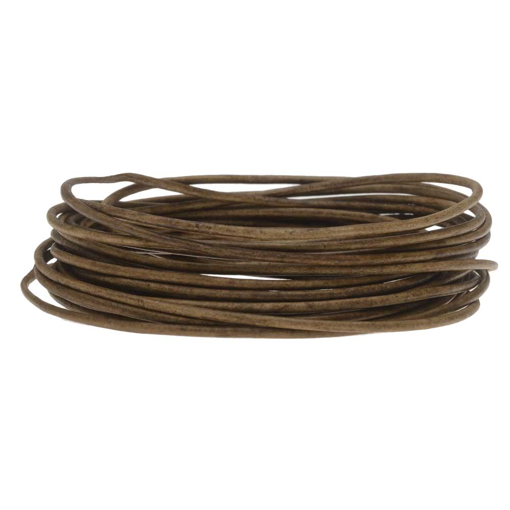Genuine Leather Cord, Round 1.5mm,  By the Yard, Natural Grey