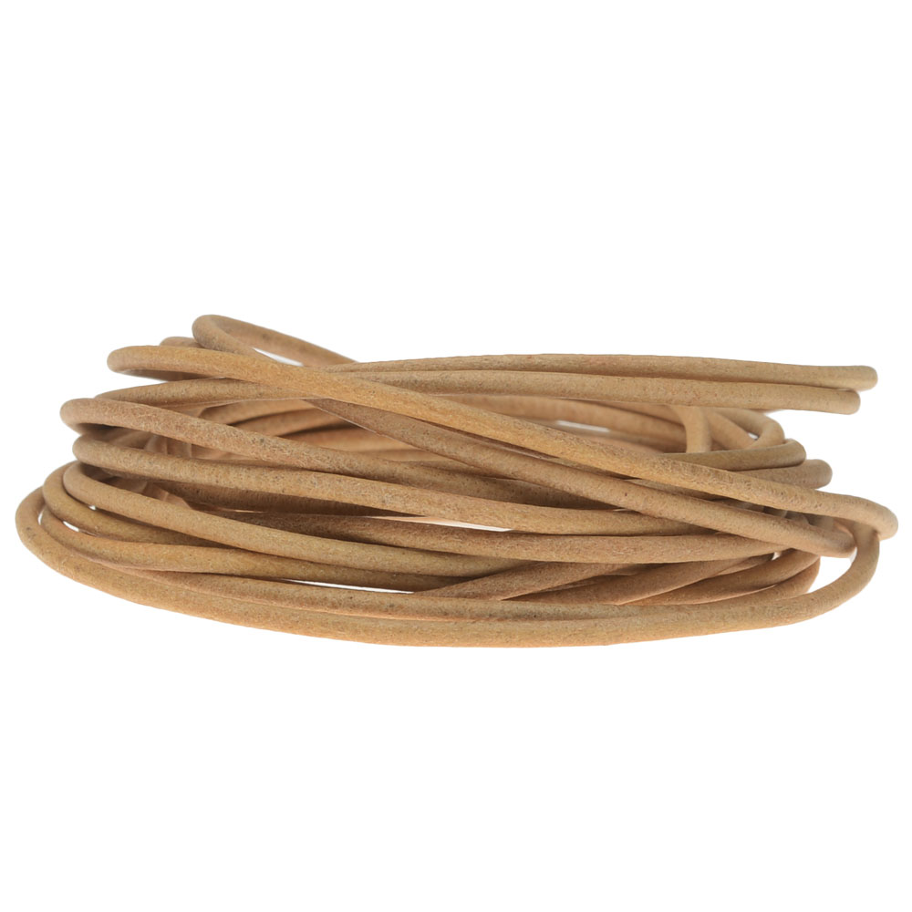 Genuine Leather Cord, Round 2mm,  By the Yard, Natural