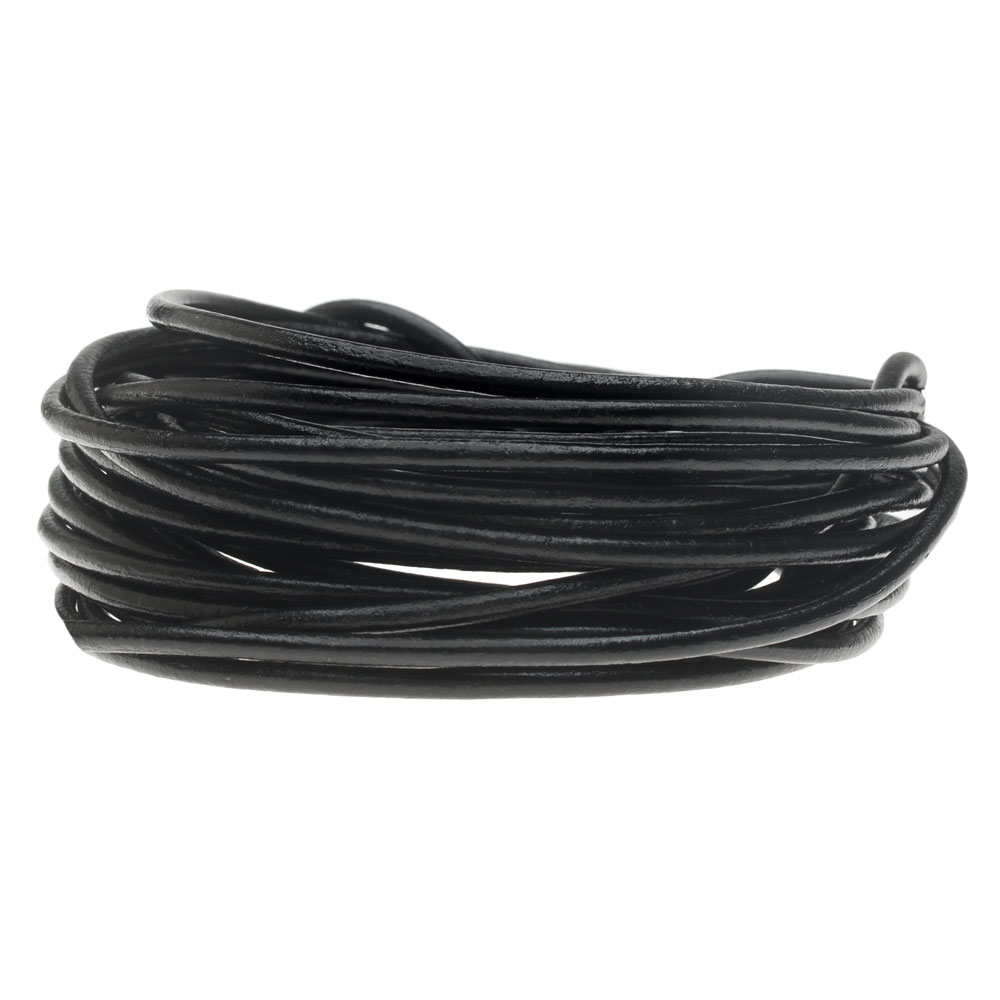 Genuine Leather Cord, Round 2mm,  By the Yard, Black