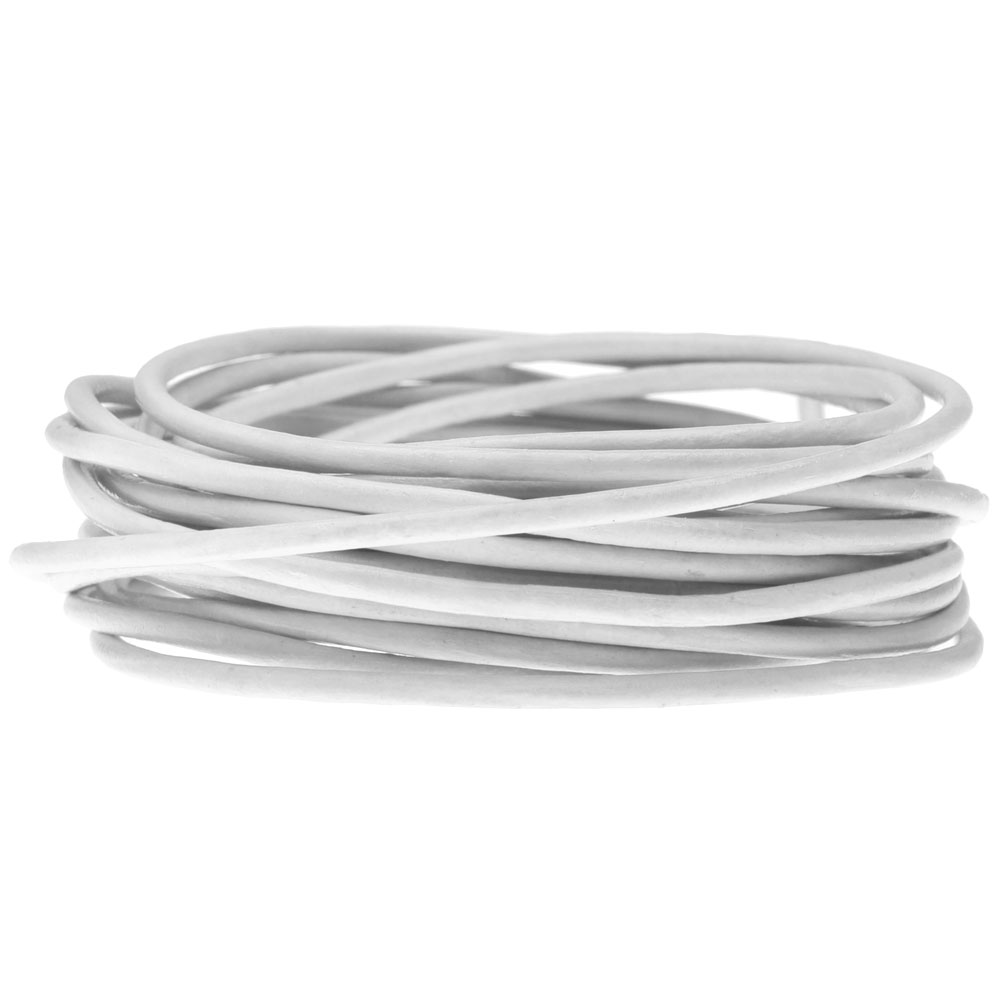 Genuine Leather Cord, Round 2mm,  By the Yard, White