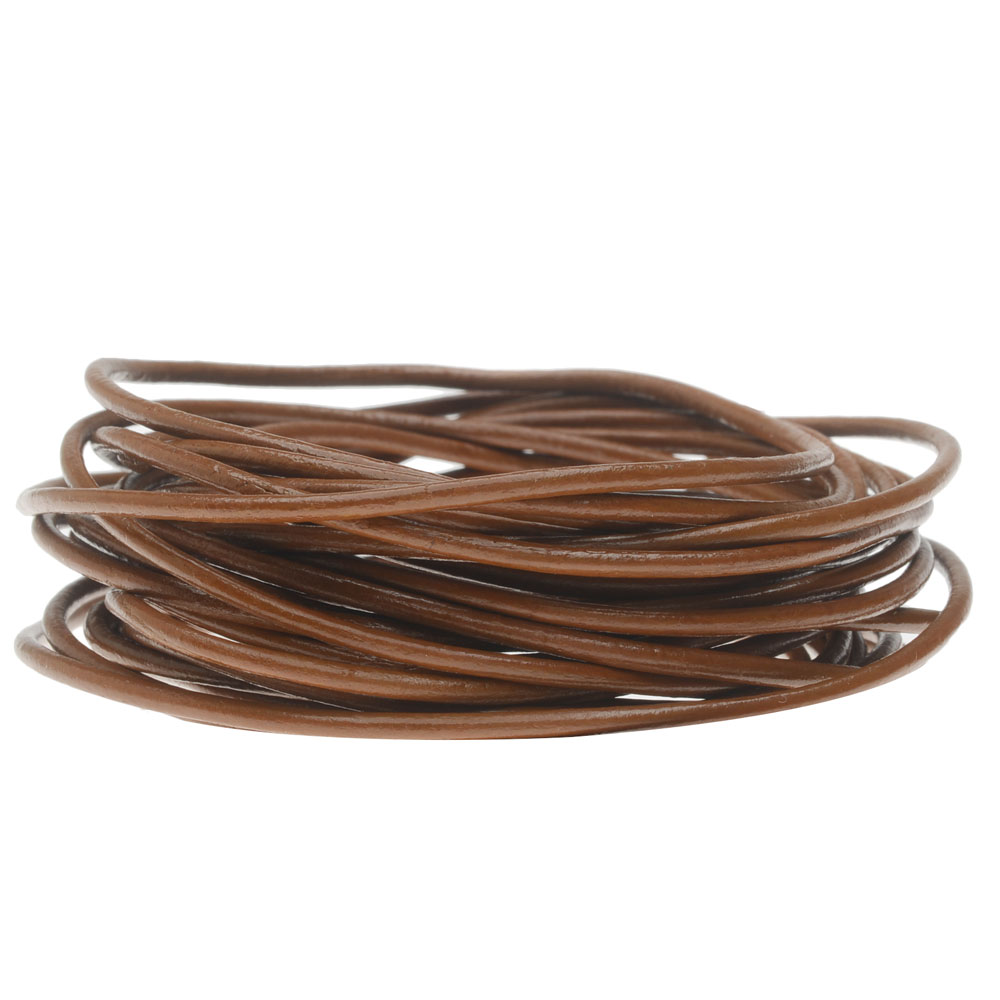 Genuine Leather Cord, Round 2mm,  By the Yard, Light Brown