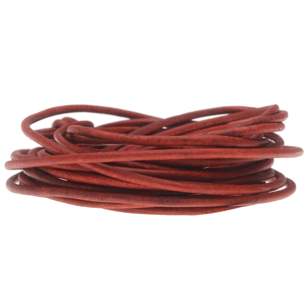 Genuine Leather Cord, Round 2mm,  By the Yard, Natural Red