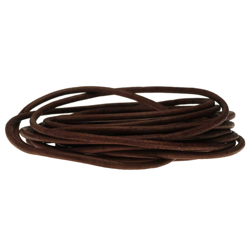 Genuine Leather Cord, Round 2mm,  By the Yard, Natural Antique Brown