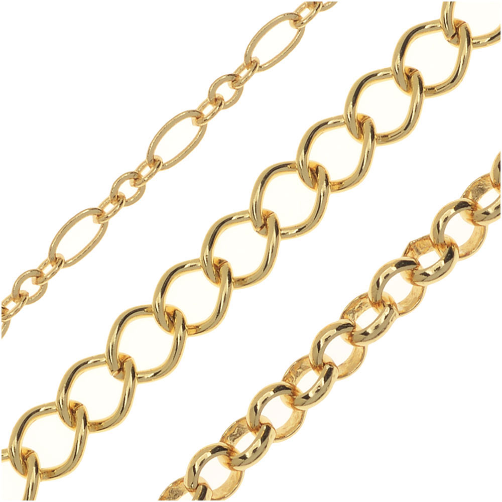 Designer Chain Assorted Variety Pack, Long and Short, Curb Links, Rolo, 3 Feet of Each, Gold Plated