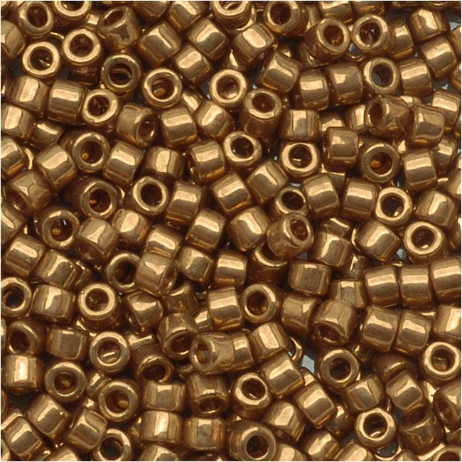 Miyuki Delica Seed Beads, 11/0 Size, 7.2 Grams, Metallic Lt Bronze DB022L